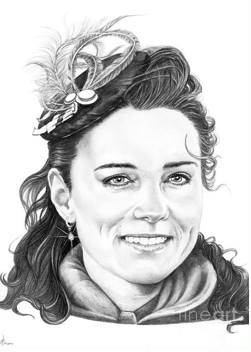 Drawing Greeting Card featuring the drawing Kate Middleton by Murphy Elliott