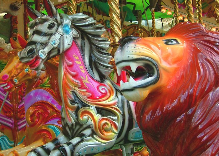 Zebra Greeting Card featuring the photograph Kate The Zebra And Lion Carousel by Heather Lennox
