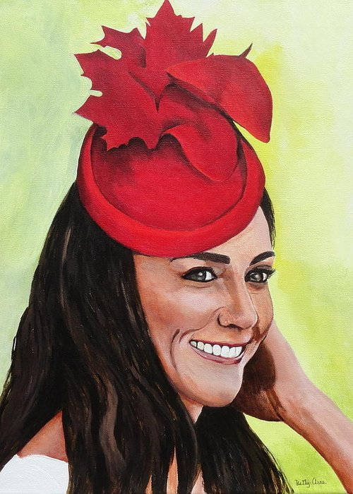 British Royalty Greeting Card featuring the painting Katherine Duchess Of Cambridge by Betty-Anne McDonald