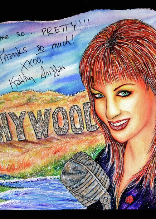 Actress Greeting Card featuring the mixed media Kathywood by Joseph Lawrence Vasile