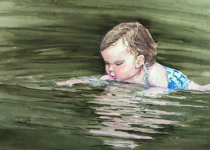 Child In River Greeting Card featuring the painting Katie Wants A River Rock by Sam Sidders