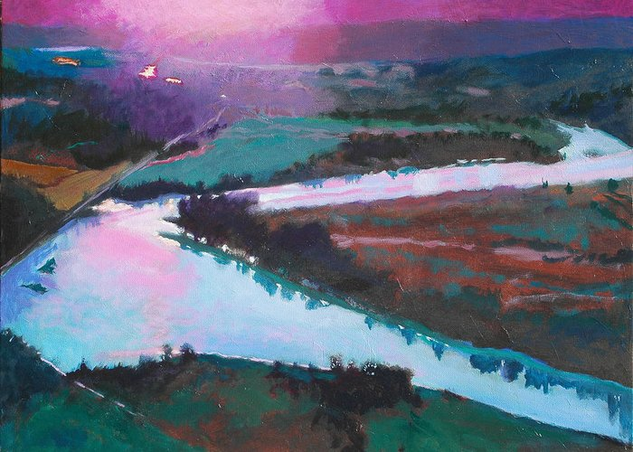 River Greeting Card featuring the painting Katka Overlook by Robert Bissett
