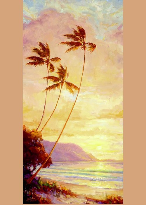 Landscape Greeting Card featuring the painting Kauai Sunset by Jenifer Prince