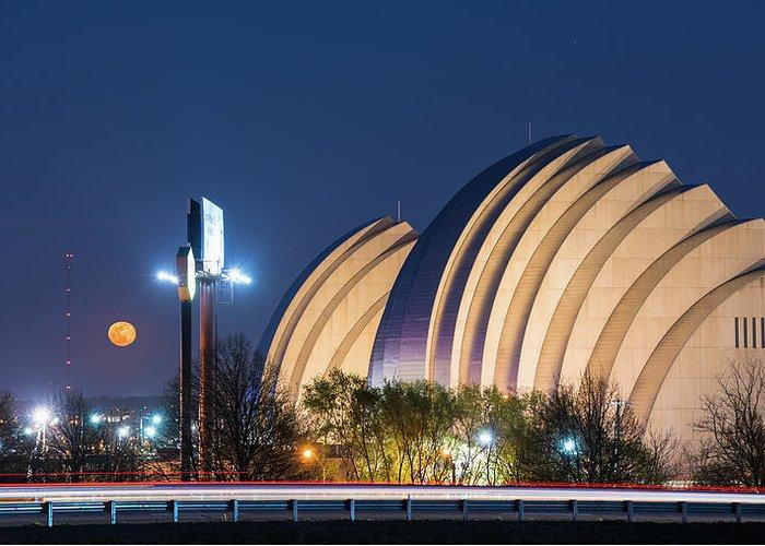 Kansas City Greeting Card featuring the photograph Kauffman Center Moonrise by Ryan Heffron