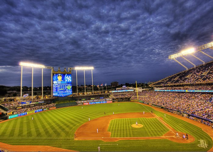Kauffman Stadium Greeting Card featuring the photograph Kauffman Stadium Twilight by Shawn Everhart