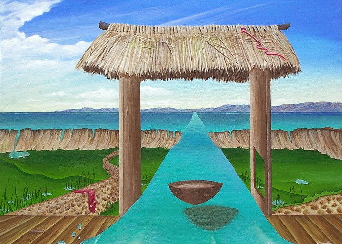 Surreal Painting Greeting Card featuring the painting Kava Flow by Sharon Ebert