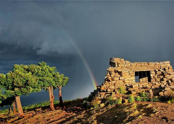 Nature Greeting Card featuring the photograph Kawanis Cabin Rainbow, Sandia Crest, New Mexico by Zayne Diamond Photographic