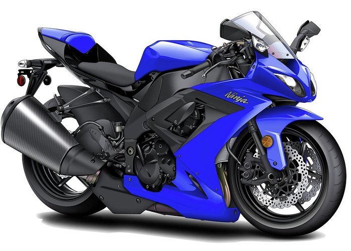 Kawasaki Ninja Blue Motorcycle Greeting Card For Sale By Maddmax
