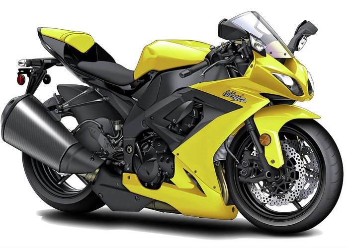 Kawasaki Ninja Yellow Motorcycle Greeting Card for Sale by Maddmax