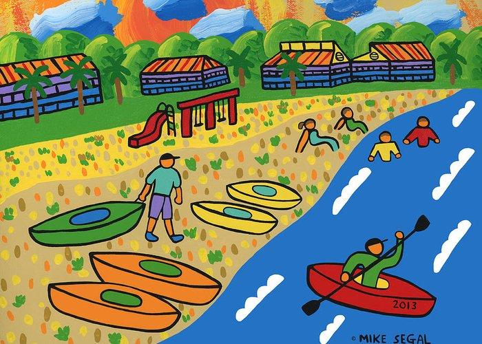 Kayak Greeting Card featuring the painting Kayak Beach - Cedar Key by Mike Segal