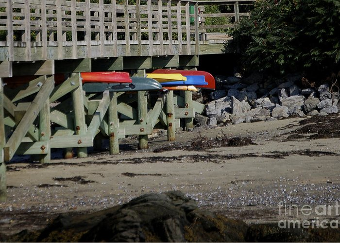 Kayak Greeting Card featuring the photograph Kayak Rack by Faith Harron Boudreau