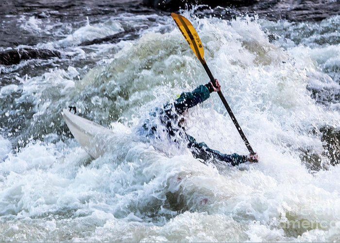 Kayak Greeting Card featuring the photograph Kayaker In Action At Pipeline Rapids In James River 5956c by Doug Berry