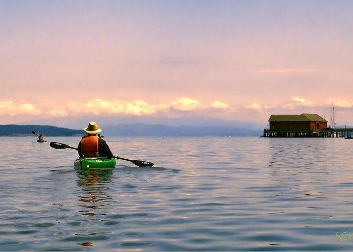 Kayak Greeting Card featuring the photograph Kayaking Penn Cove by Rick Lawler