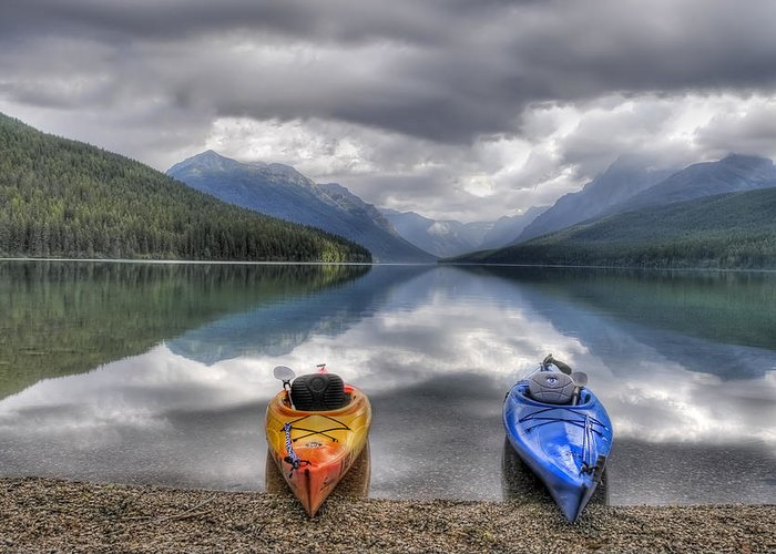 Kayak Greeting Card featuring the photograph Kayaks On Bowman Lake by Donna Caplinger