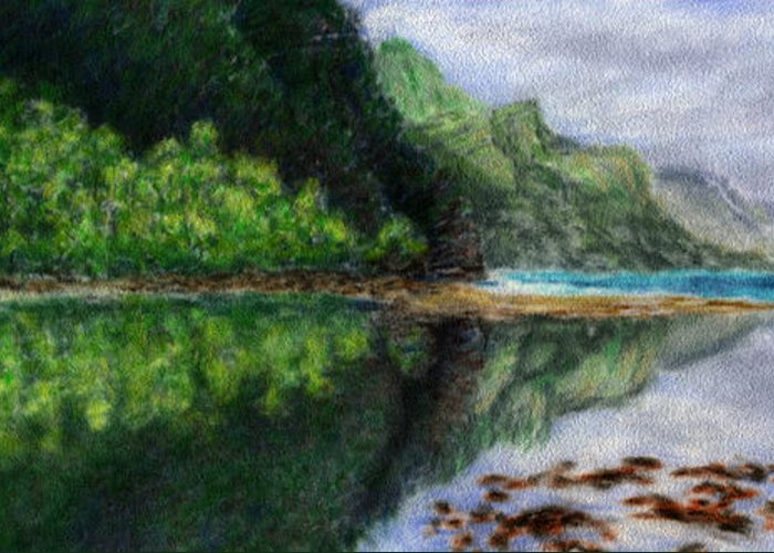 Rainbow Colors Pastel Greeting Card featuring the painting Ke'e by Kenneth Grzesik