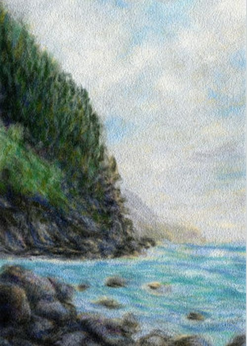 Rainbow Colors Pastel Greeting Card featuring the painting Ke'e Rocks by Kenneth Grzesik