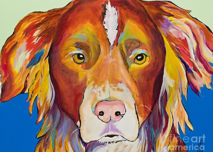 Australian Border Collie Greeting Card featuring the painting Keef by Pat Saunders-White
