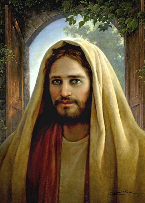 Jesus Greeting Card featuring the painting Keeper Of The Gate by Greg Olsen