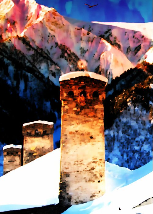 Mountain Greeting Card featuring the photograph Keeper Of The Light Adishi Svaneti by Anastasia Savage Ealy