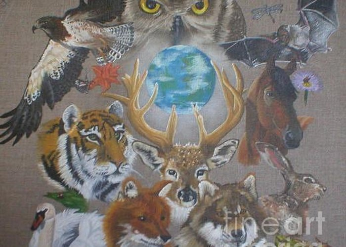 Earth Owl Bat Horse Hare Frog Wolf Deer Fox Swan Tiger Kestrel Spider Drogonfly Butterfly Ladybird Greeting Card featuring the painting Keepers Of The Realm by Pauline Sharp