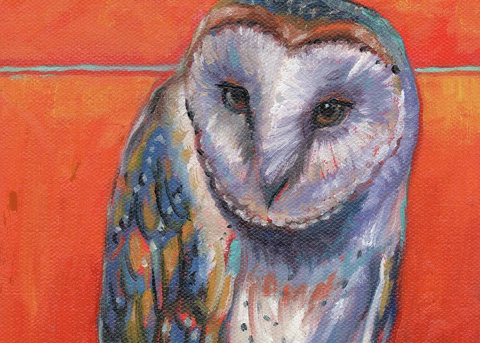 Barn Owl Art Greeting Card featuring the painting Keeping Watch by Tahirih Goffic