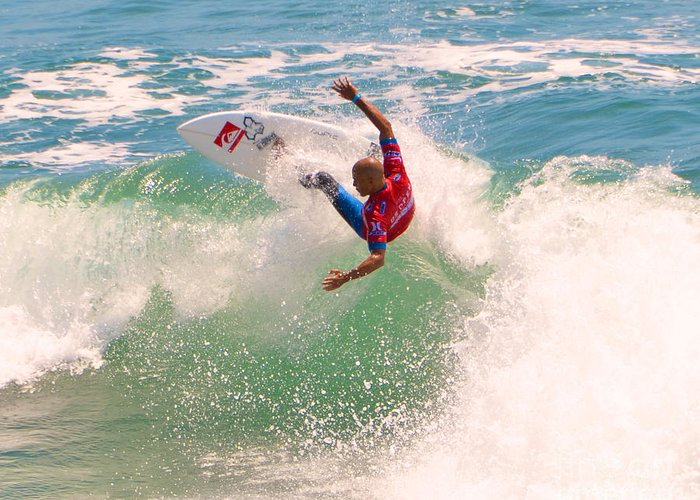 Kelly Slater Greeting Card featuring the photograph Kelly Slater Us Open Of Surfing 2012   7 by Jason Waugh