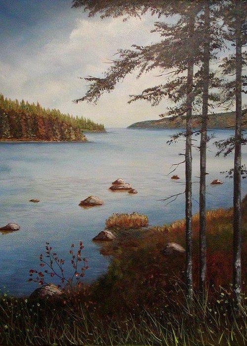 Tamarak Trees Greeting Card featuring the painting Kellys Mountain by Sharon Steinhaus