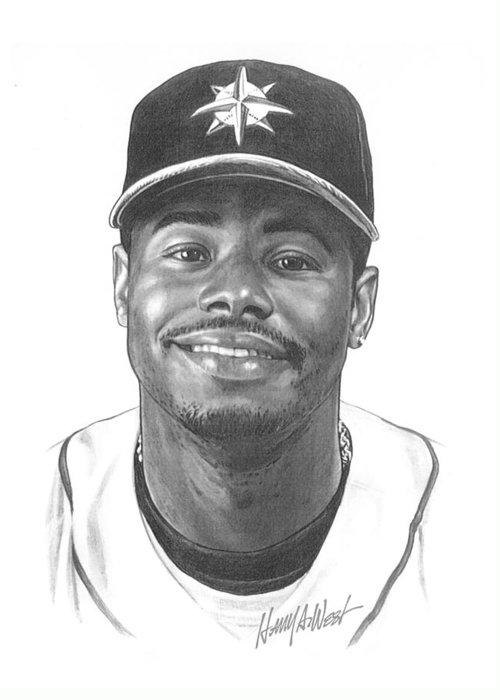 Ken Griffy Greeting Card featuring the drawing Ken Griffey Jr by Harry West