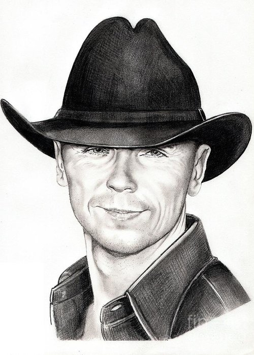 Portrait Greeting Card featuring the drawing Kenny Chesney by Murphy Elliott