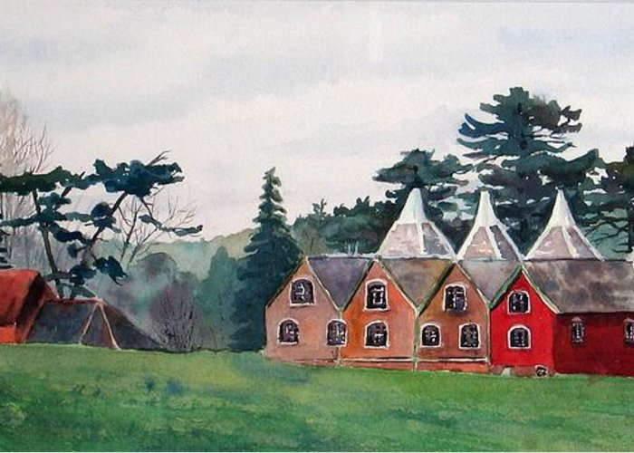 Oast House Greeting Card featuring the painting Kent Country Houses by Debbie Homewood