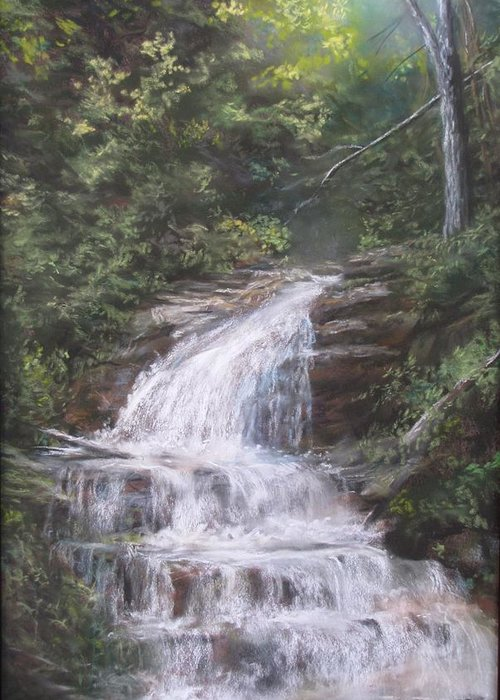 Waterfall Greeting Card featuring the pastel Kent Falls by Jack Skinner