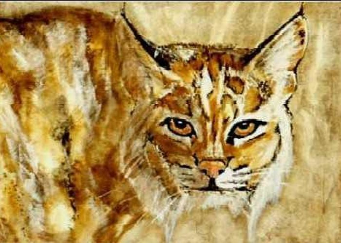 Wildcat Greeting Card featuring the painting Kentucky Wildcat by Travis Kelley