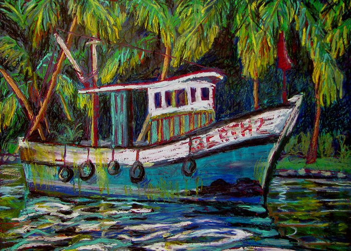 Kerala Greeting Card featuring the painting Kerala Fishing Boat by Art Nomad Sandra Hansen