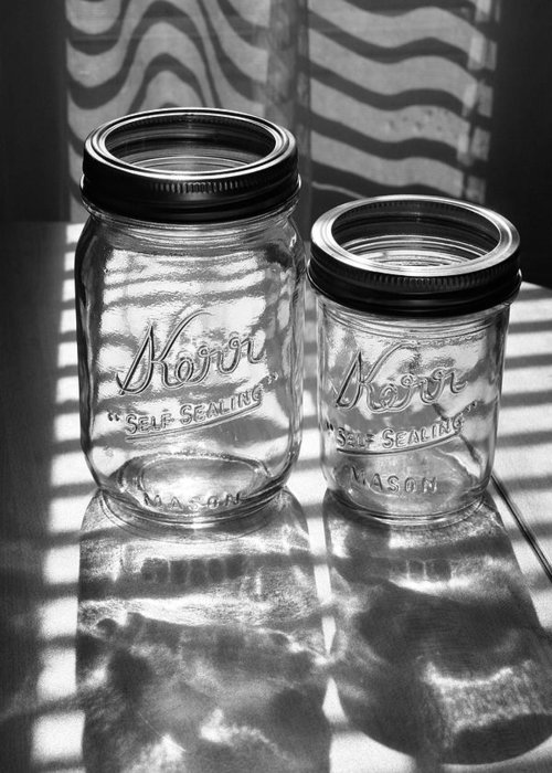 Glass Greeting Card featuring the photograph Kerr Jars by Steve Augustin