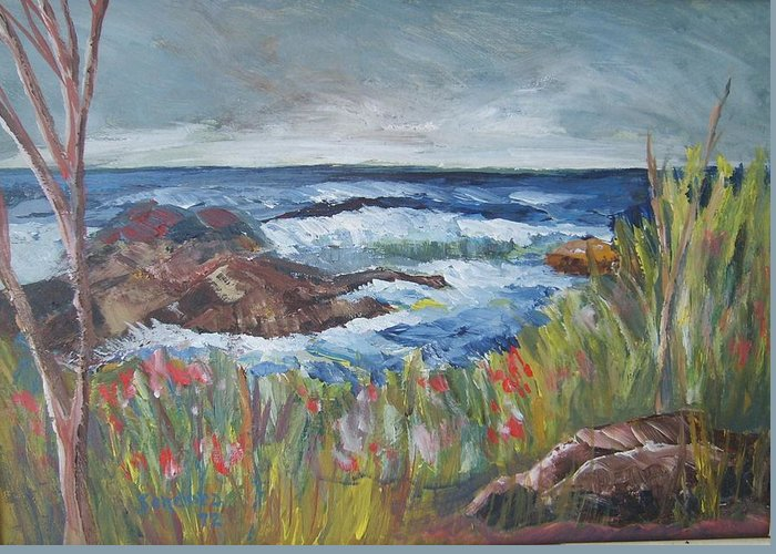 Seascape Greeting Card featuring the painting Kettle Cove by Joseph Sandora Jr