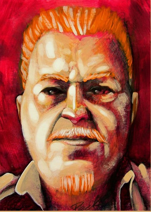 Portraiture Greeting Card featuring the painting Kevin Is The Man by Charles Peck