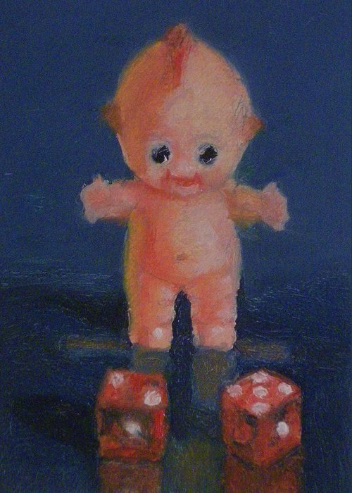 Doll Greeting Card featuring the painting Kewpie On A Roll by Becky Alden