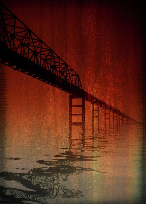 Bridge Greeting Card featuring the photograph Key Bridge Artistic In Baltimore Maryland by Skip Willits
