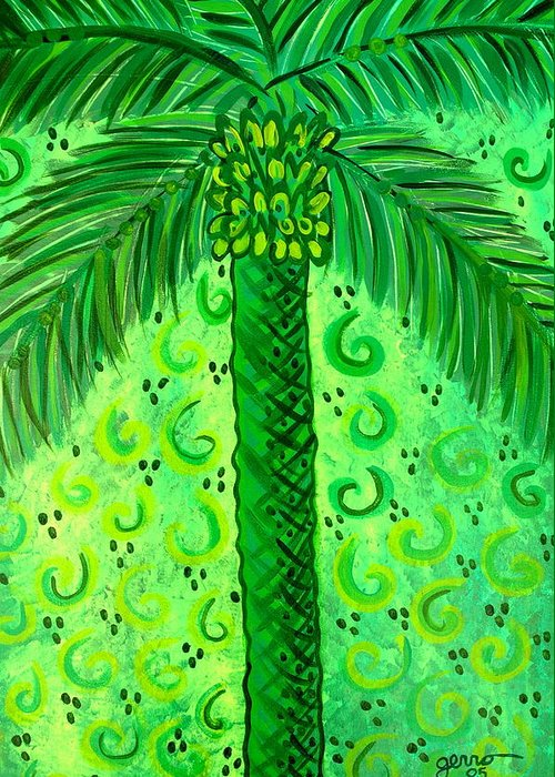 Palm Trees Greeting Card featuring the painting Key Lime Palm by Helen Gerro
