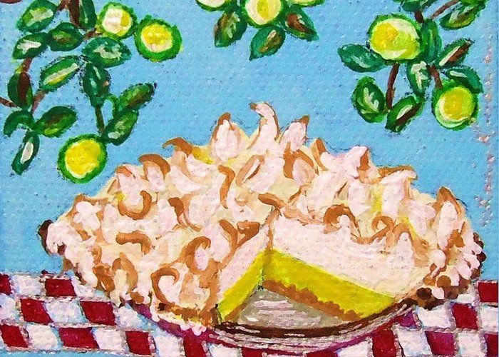 Key Lime Pie Greeting Card featuring the painting Key Lime Pie Mini Painting by Lois  Rivera