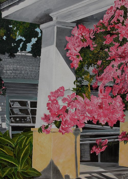 Key West Greeting Card featuring the painting Key West Bougainvillea by John Schuller