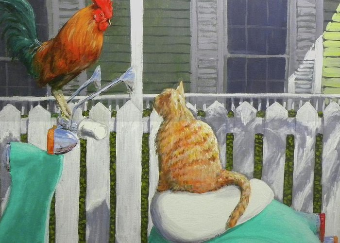 Rooster Greeting Card featuring the painting Key West Buddies by Paul Emig