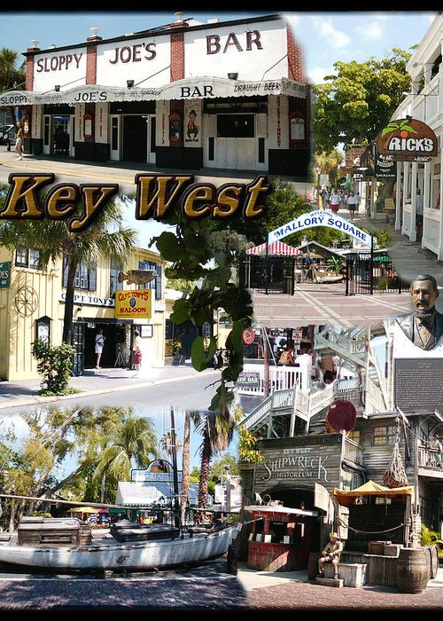 Key West Greeting Card featuring the photograph Key West Collage by David Starnes
