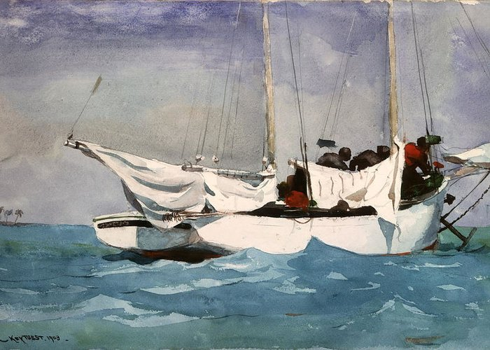 Winslow Homer Greeting Card featuring the digital art Key West Hauling by Winslow Homer