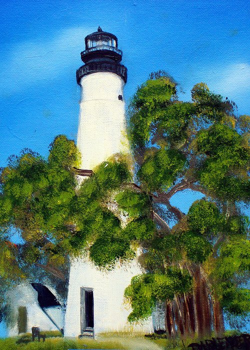 Lighthouse Greeting Card featuring the painting Key West Lighthouse by Darlene Green