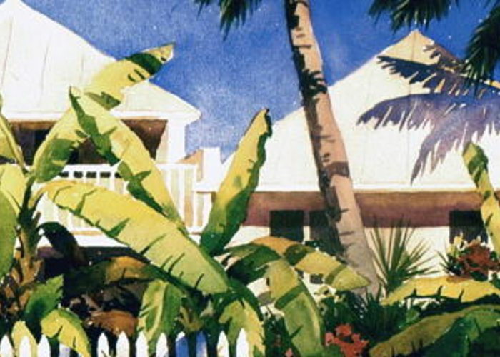 Tropical Greeting Card featuring the painting Key West Skyline by Faye Ziegler