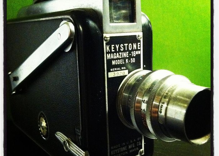 Keystone K50 16mm Hand Crank Vintage Camera Film Lens Black Green Silver Polished Dial Movie Aperture F Stop Viewfinder Made In Usa Boston Mass Single Frame Lock Run Art Fun Telephoto Macro Greeting Card featuring the photograph Keystone K50 by Gabe Arroyo