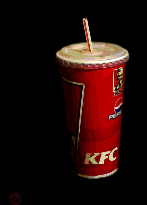 Popart Kfc Still Life Greeting Card featuring the painting Kfc Cup by Helena M Langley