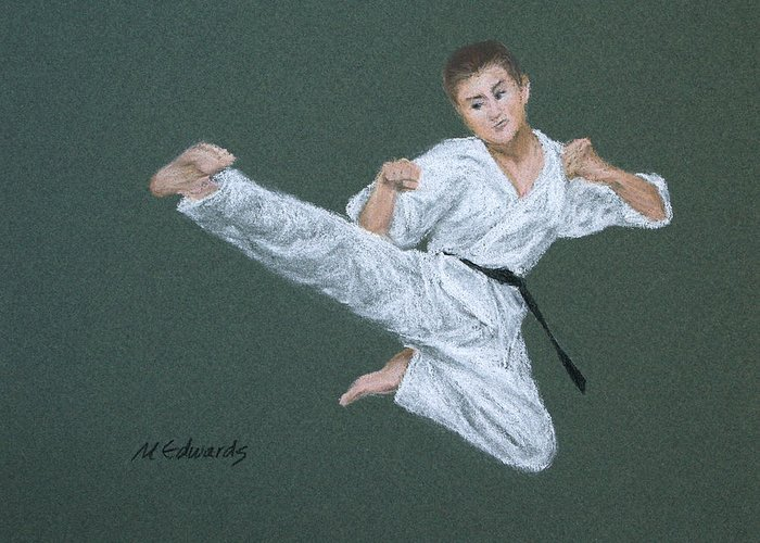 Kick Greeting Card featuring the pastel Kick Fighter by Marna Edwards Flavell