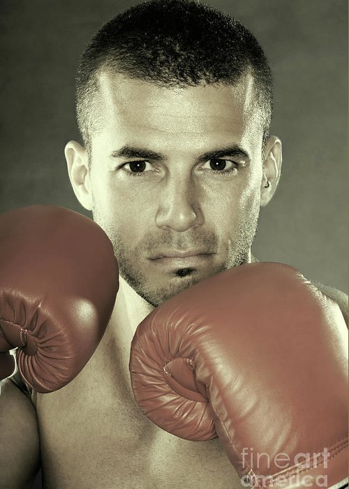 Kickboxer Greeting Card featuring the photograph Kickboxer by Oleksiy Maksymenko